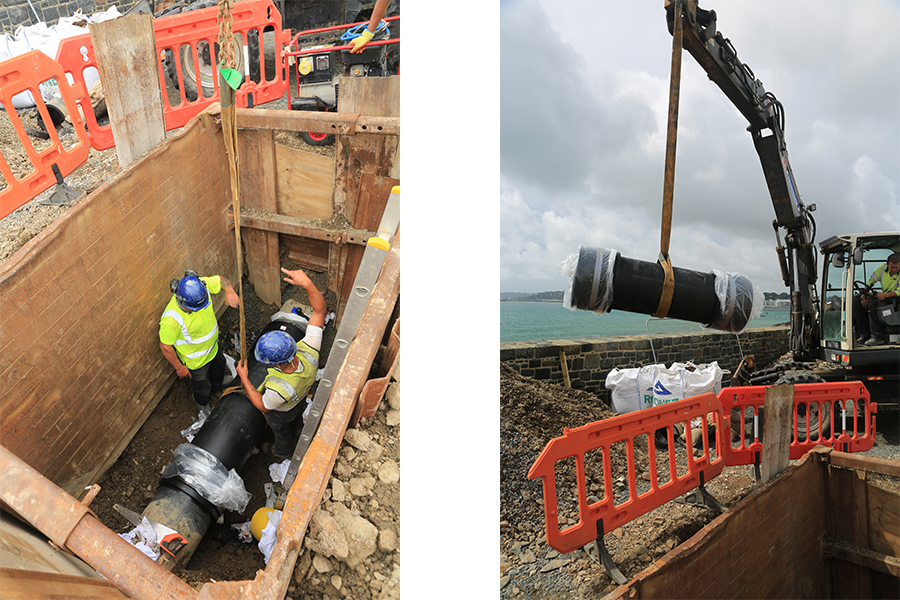 Contractors working in the trench during phase 1, and a section of sewer being lowered into place