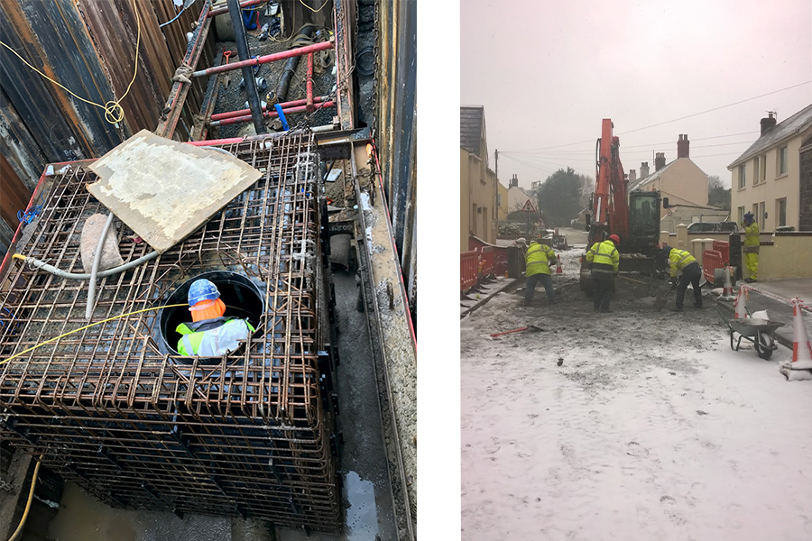 Phase 2 - A view inside the trench and contractors working in the snow